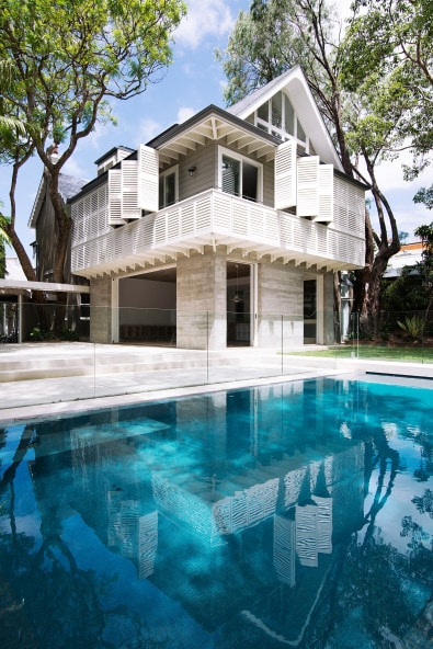 Monolithic Base, Swimming Pool, Pitched Roof, Traditional Architecture, Timber Shutters