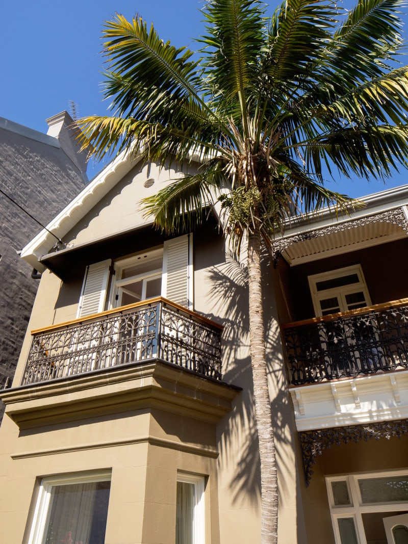 Luigi Rosselli, Traditional Architecture, Alterations and Additions, Palm Tree, Victorian cast iron balcony