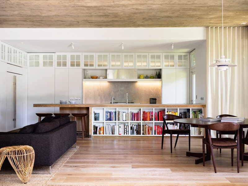 Luigi Rosselli, Zinc Kitchen Bench, Exposed Concrete Ceiling, Living Room, Dining Room, Kitchen