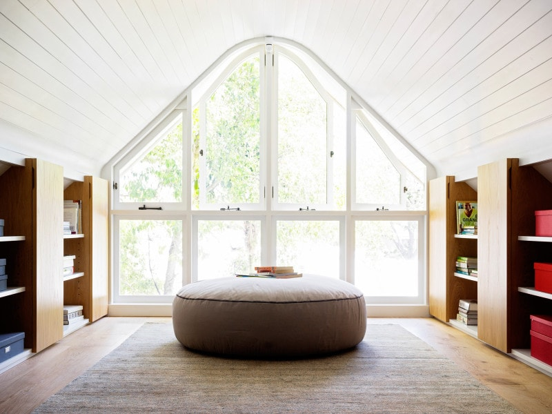 Luigi Rosselli, Light Filled Attic Retreat, Curved Windows, Arch Window, Bookshelves, Library