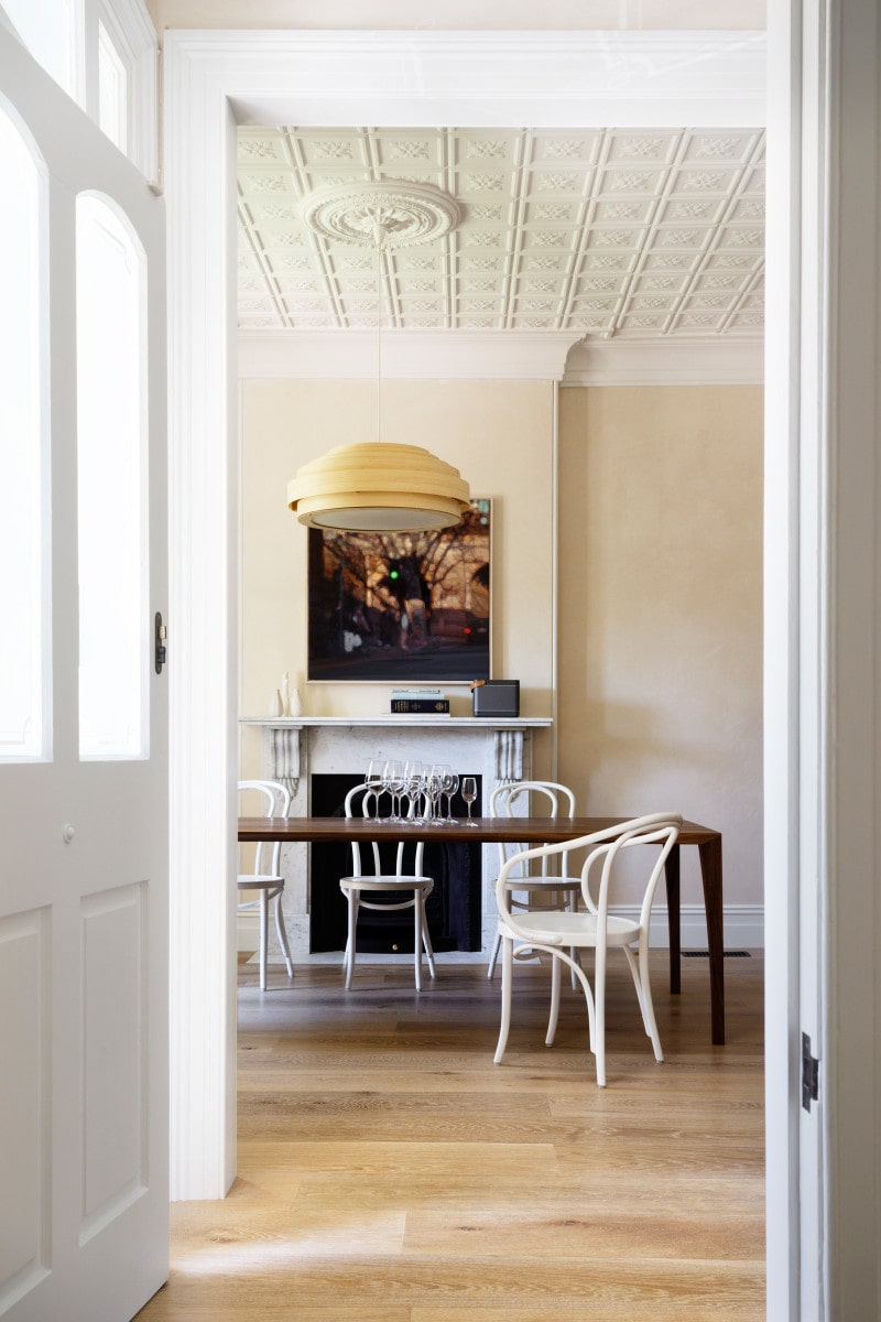 Luigi Rosselli, Timber Floors, Pressed Metal Ceiling, Dining Room