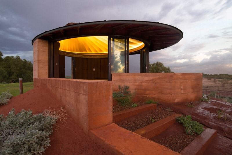 Elliptical chapel, Rammed Earth, Rammed Earth Building, Western Australia, Outback Building
