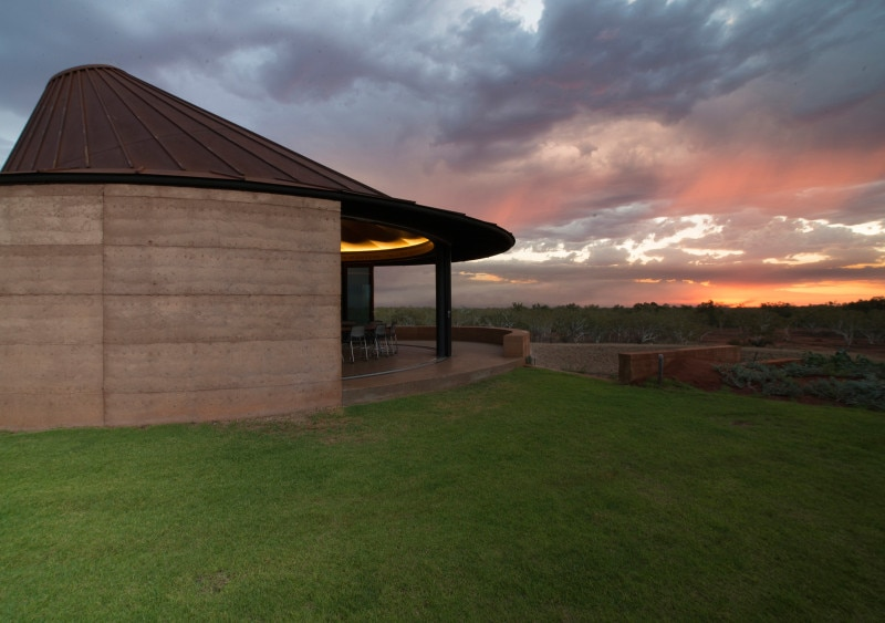 Luigi Rosselli, Cor-Ten steel sheets form oblique cone roof, Rammed Earth Building, Rammed Earth, Rammed Earth Wall