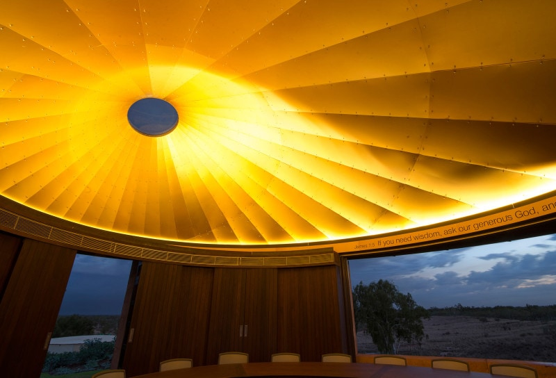 Cone Apex, Glass Skylight, Chapel, Luigi Rosselli, Gold Anodized Aluminum Ceiling