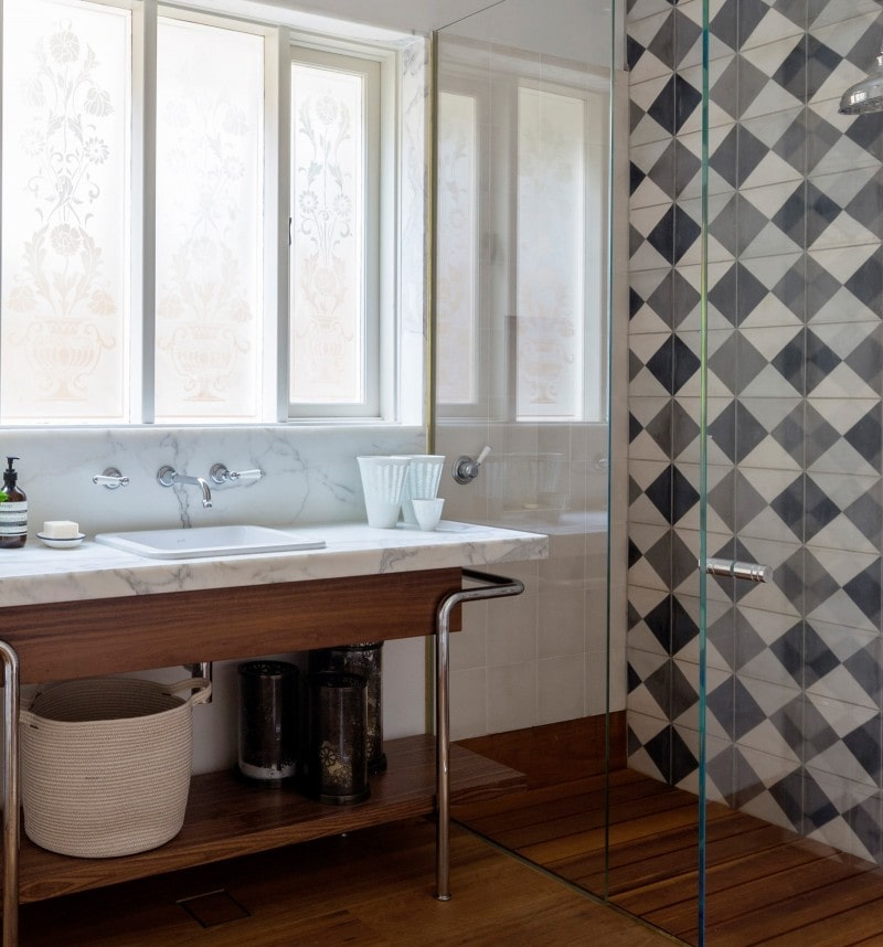 marble vanity top grey geometric tiles