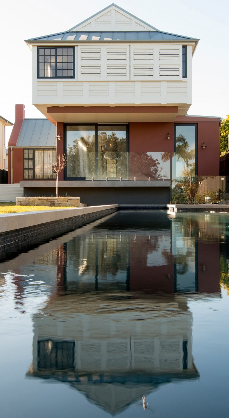Covered Porch, Cantilevered Balancing Home Floor, Swimming Pool, Water Feature, Pitched Roof