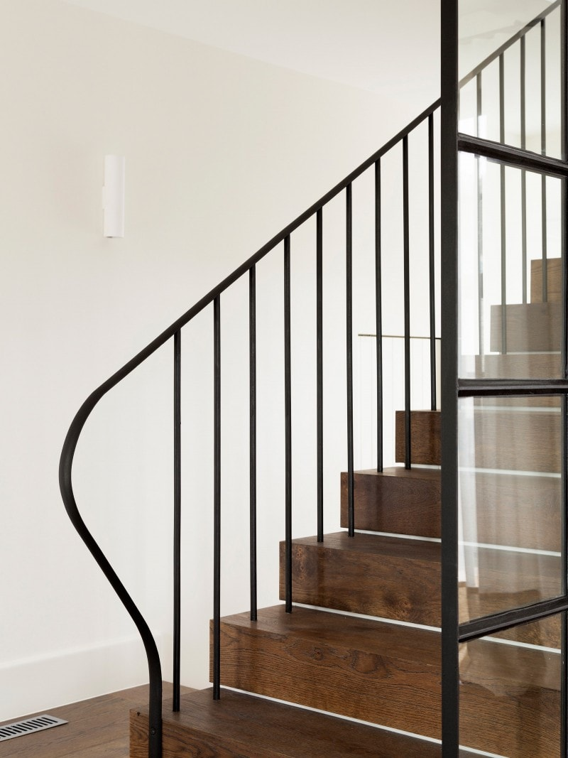 Luigi Rosselli, Classic Black Steel Curved Balustrade, Dark Timber Stair, Glazed Sliding Internal Door Steel