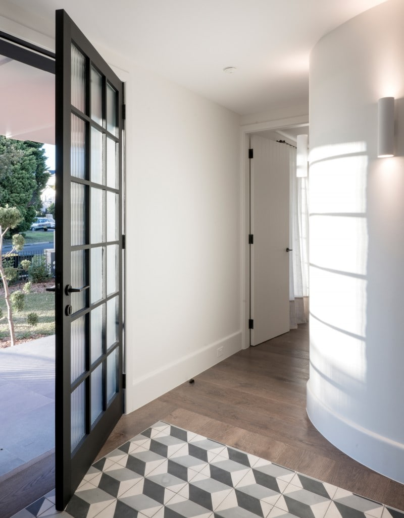 Encaustic Escher Pattern Tiles, Entry Hallway, Steel Framed Glazed Doors, Timber Flooroards