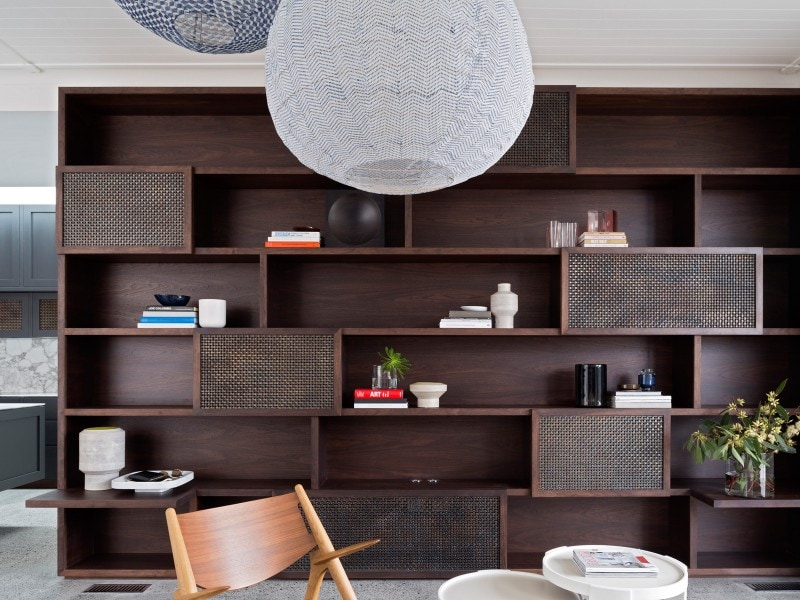 Luigi Rosselli, Dark Stained Walnut Storage Unit, Brass Mesh, Sliding Doors, Book Shelves, Bespoke Custom Joinery, Walnut Storage Unit, Living Room