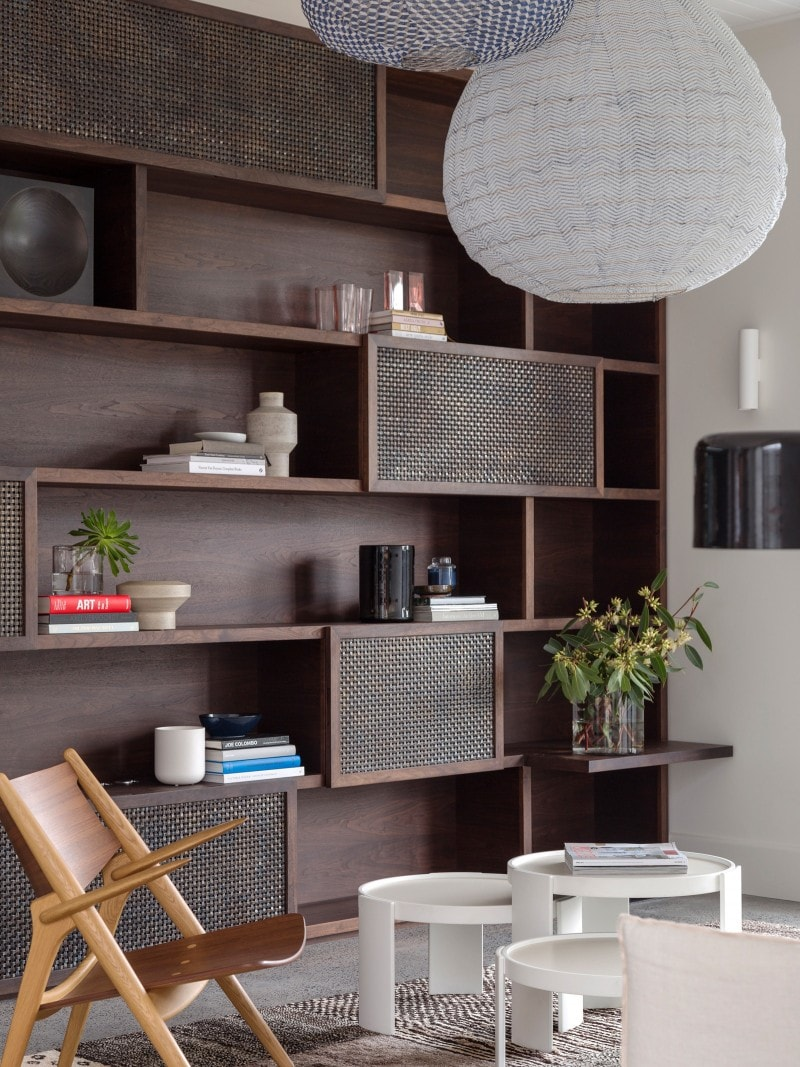 Luigi Rosselli, Dark Stained Walnut Storage Unit, Brass Mesh, Sliding Doors, Book Shelves, Bespoke Custom Joinery