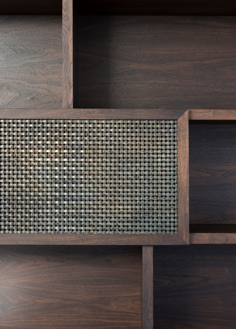 Aged Brass Woven Mesh, Dark Walnut Joinery Cabinetry, Shelves, Book shelves