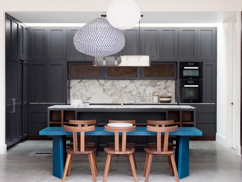Stone and Panel Timber Kitchen Joinery, Kitchen Island Bench, Dark Coloured Kitchen, Marble Splashback