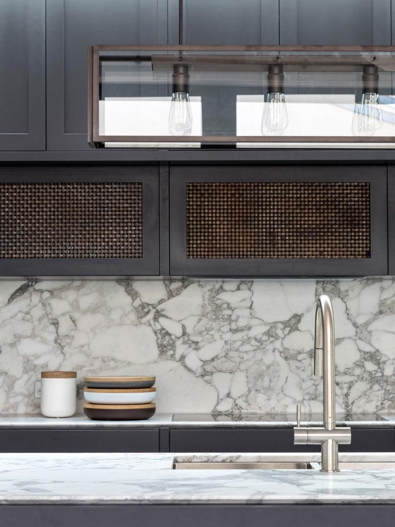 Luigi Rosselli, Statuario Marble Benchtop, Aged Woven Brass Mesh, Marble Kitchen Bech top,