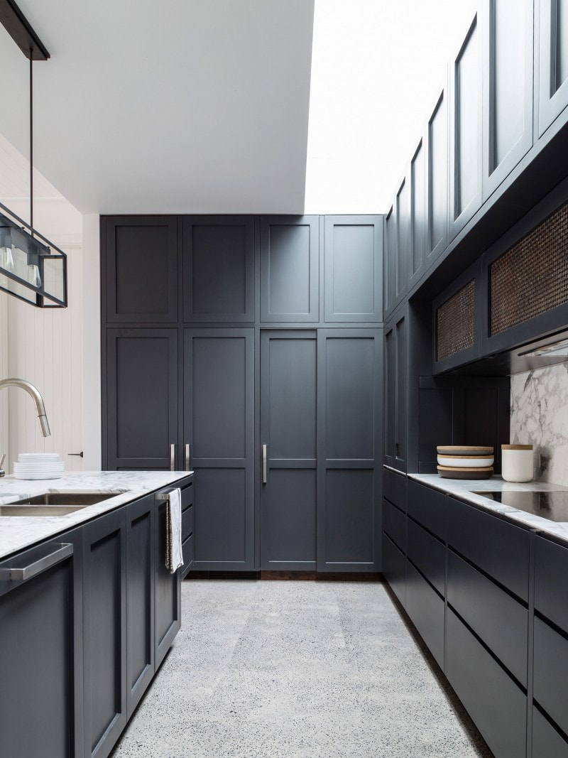 Polished Concrete Flooring, Dark Kitchen Joinery, Traditional Profile Joinery, Marble Kitchen Benchtop, Aged Woven Brass Mesh Screens Joinery