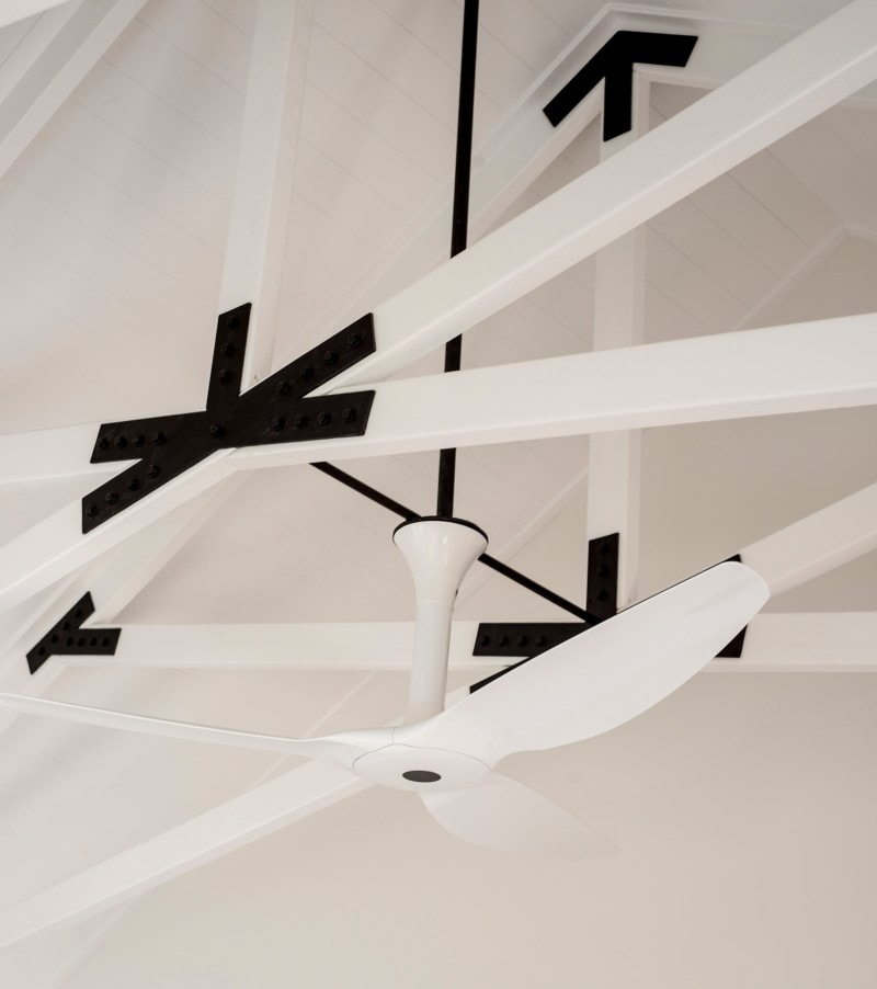 Haiku Ceiling Fan, Exposed Timber Trusses, White Trusses