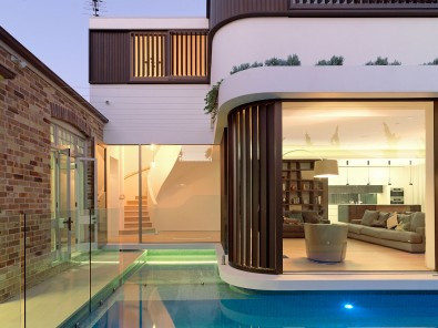 Modern Light Filled Addition, Moat Swimming Pool, Frameless Glass Pool Fence, Luigi Rosselli, Glass Mosaic Pool Tiles, Lap Pool, Timber Shutters Sliding, Swimming Pool, Floating Building, Moat