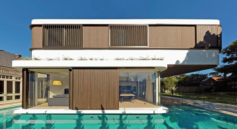 Luigi Rosselli, Horizontal Lines, Architecture, Stained Western Red Cedar Sliding Shutters, Cedar Cladding, Swimming Pool, Built in Planter Box