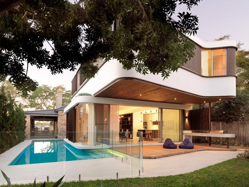 Luigi Rosselli, White Acrylic Render, Sliding Timber Shutters, Swimming Pool, Built in Planter Box, Floating Building, Moat, Covered Porch, Concrete BBQ