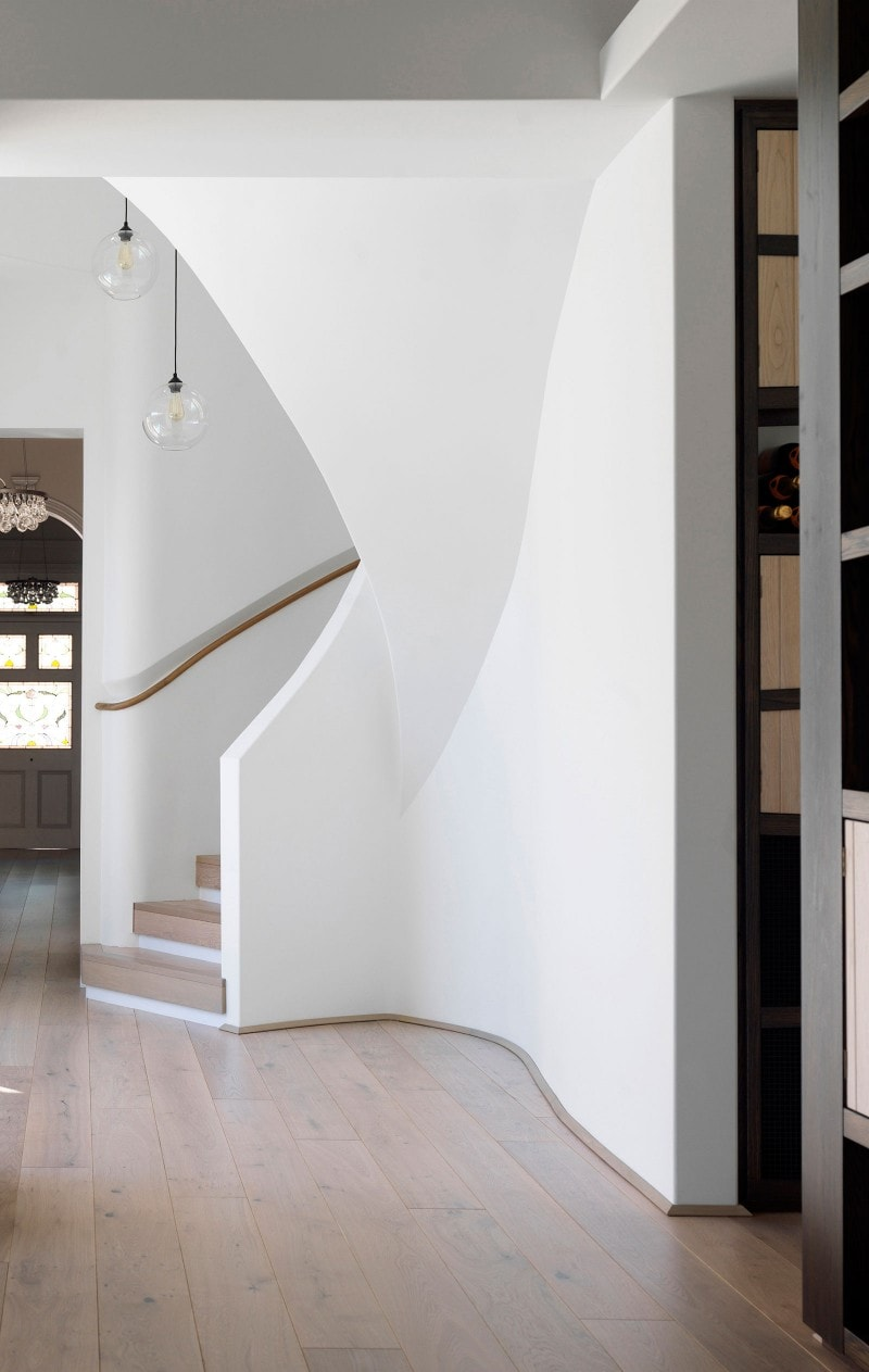 Entry Hall, Wine Store, Luigi Rosselli, Curved Stair, Engineered Timber Floorboards