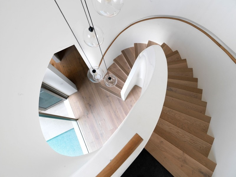 Elliptical Stair, Recess Stained Timber Handrail, Curved Stair, Curved Timber Stair, Stair Void, Stair Lightwell, Timber Floorboards