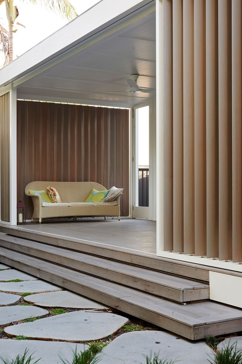western red cedar shutters to garden room retreat