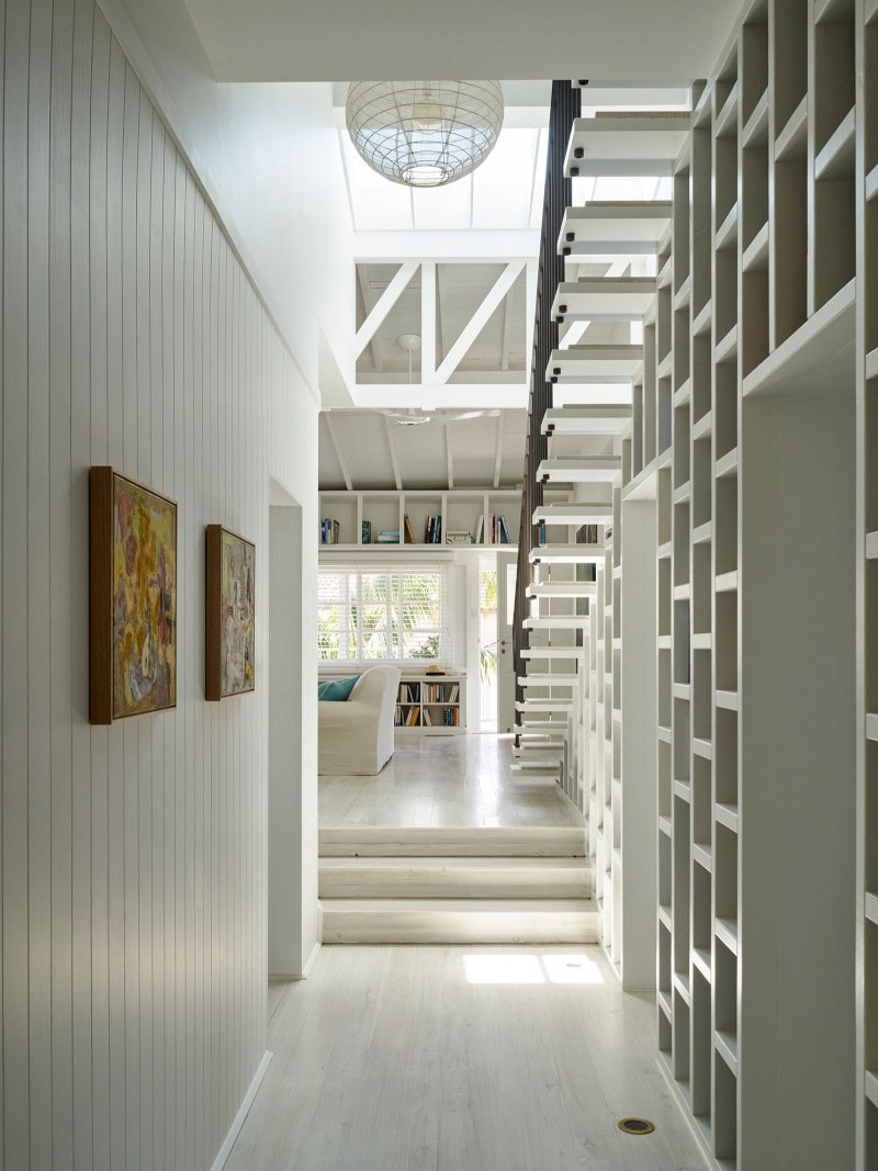 Timber Panelling, Bookshelf, Stairs, White Timber Trusses, Library, Hallway, Corridor