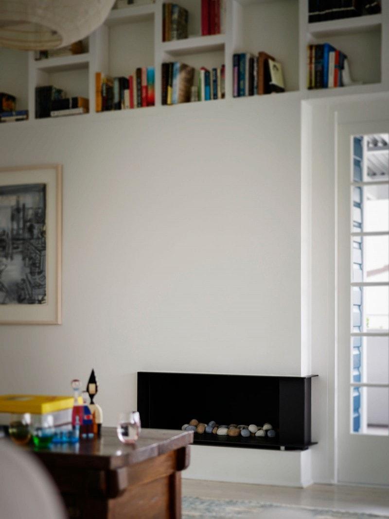 Black Steel Gas Fireplace, Bookshelves, Integrated Shelving, Built In Fireplace