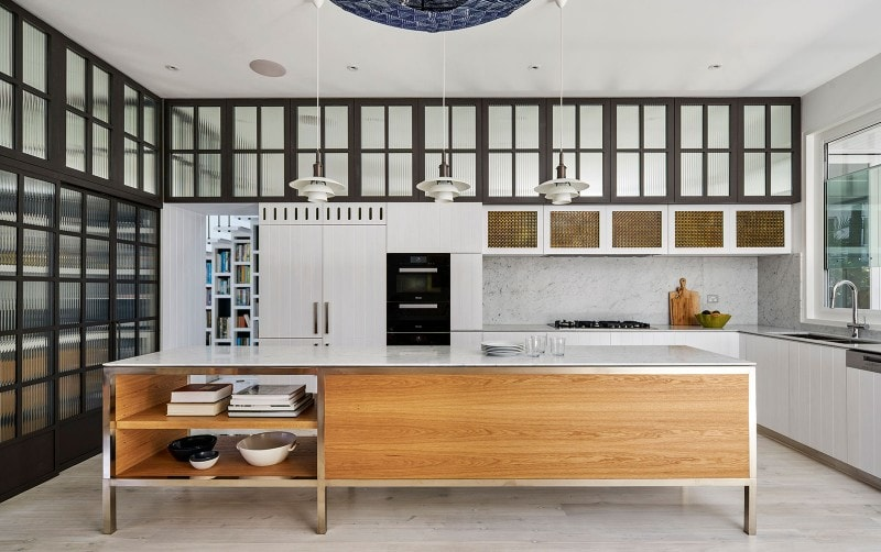 Luigi Rosselli, Freestanding Stained Oak Kitchen Island Bench, Brass Mesh Cabinets, Sliding Glazed Doors, Kitchen