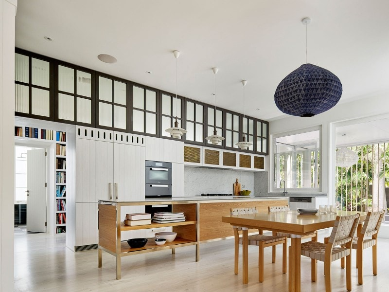 open plan kitchen and dining space