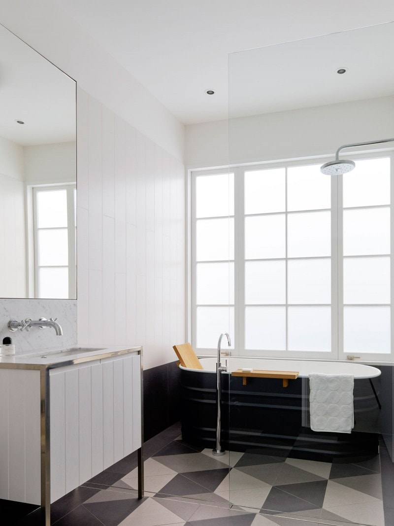 Steel Bath on Escher bathroom tiles, Geometric Tiles Bathroom, Beachy Cabinet, Steel Framed Vanity Cabinet, Freestanding Bath