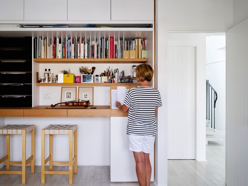 Luigi Rosselli, Music Nook with Storage, Bookshelves, Integrated Book Shelves
