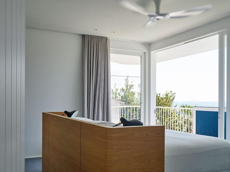 Beach House, Bedroom, Ocean View, Bed Head, Custom Joinery Bed Head, Curtains