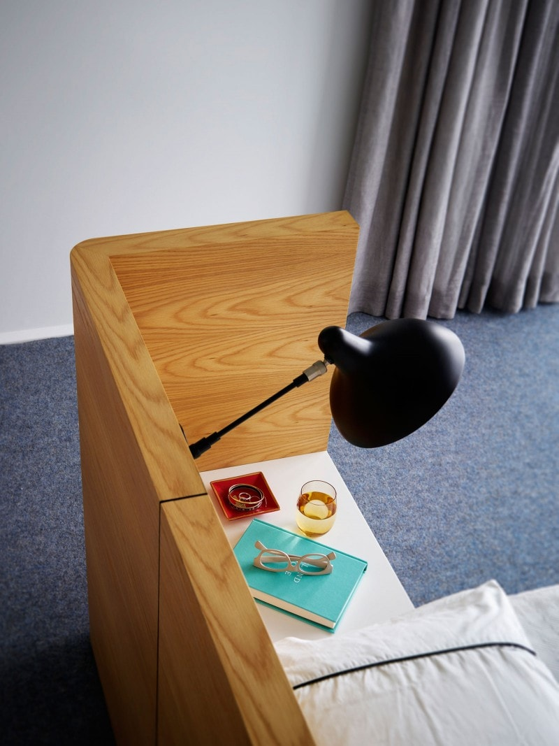 Stained Oak, Bedside Table, Reading Lamp, Custom Bed Head Joinery, Curtains, Bedroom Joinery