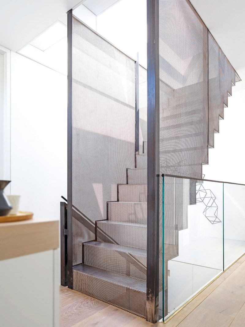 light filled staircase glass hatch