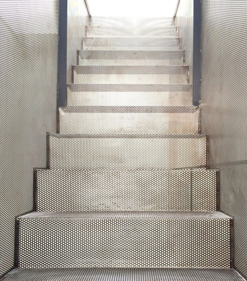 Semi-transparent Perforated Black Steel Staircase, Metal Mesh Balustrade, Stair Joinery, Mill FInish