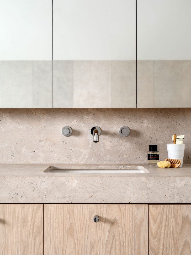 Luigi Rosselli, Marble Vanity, Wall Mounted Tapware, Timber Joinery Vanity, Bathroom Joinery, limestone vanity and splashback