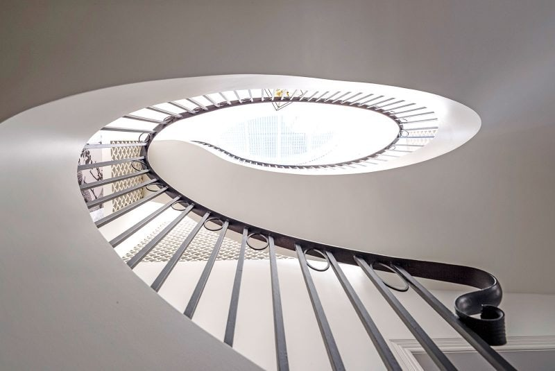 Luigi Rosselli Architects, Birds Eye View of Timber Elliptical Staircase, Curved Steel Balustrade, Timber Staircase, Elliptical Skylight