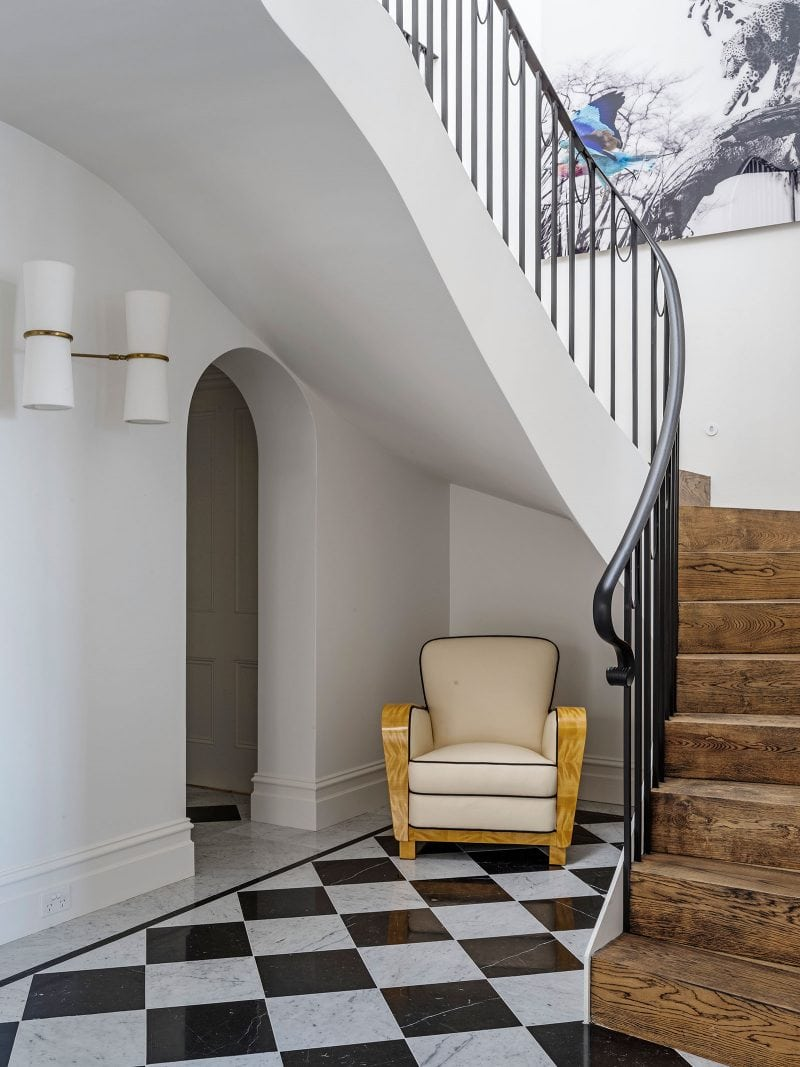 spiral staircase checkerboard marble floor