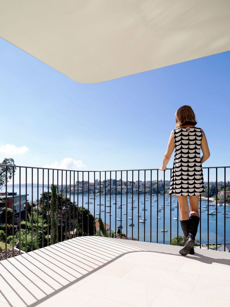 Luigi Rosselli Architects, Curved Sandstone, Tiled Balcony, Views, Steel Balustrade narrow slim