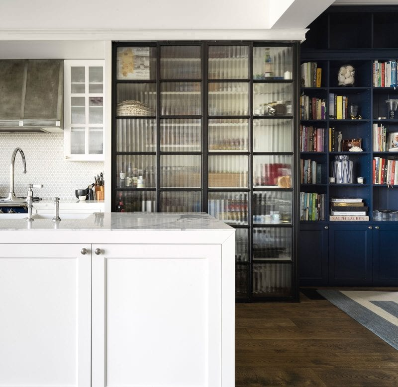 ribbed glass steel pantry doors kitchen