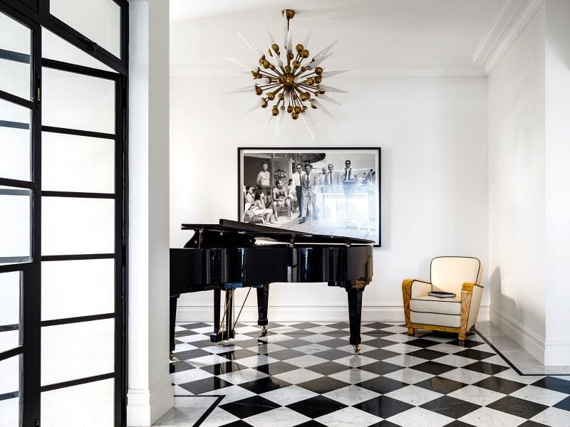 black and white checkerboard marble floors