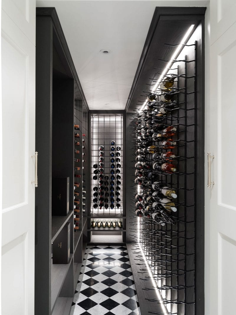 corridor style cellar with checkerboard marble floors