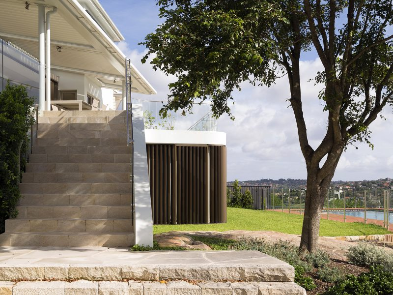 Sandstone Stairs, Martello Tower Home, Curved Sandstone Wall, Anodised Aluminium Adjustable Louvres, Palm Tree
