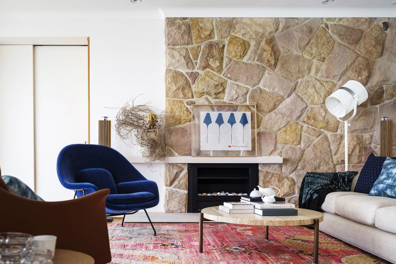 Sandstone Wall, Living Room, Minimal Pebble Fireplace