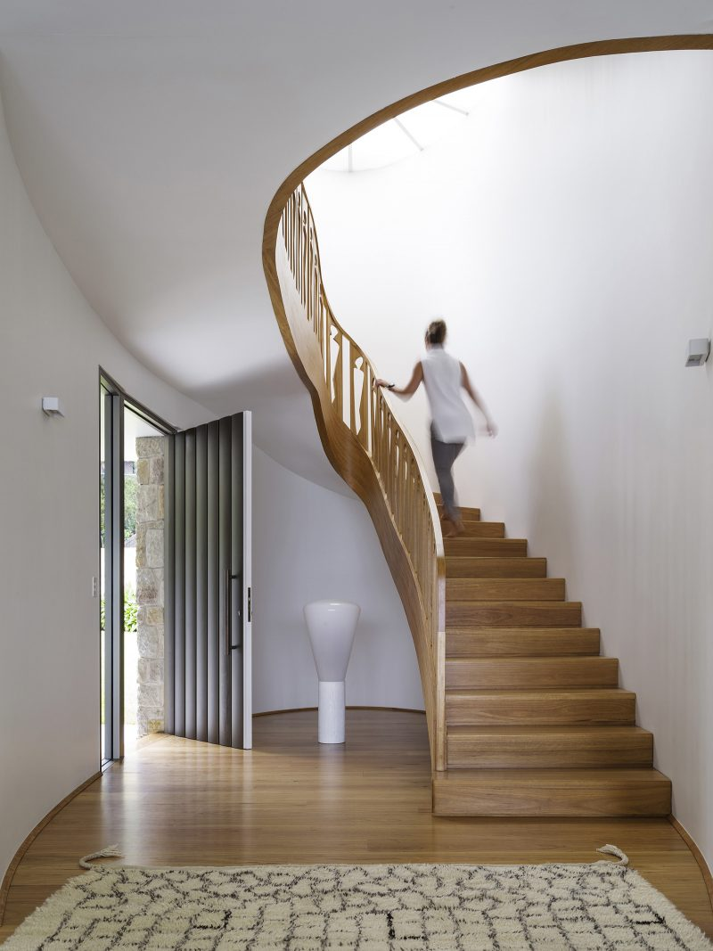 Spiral Timber Stair, Timber Cut-out Balustrade, Curved Stair, Timber Floorboards