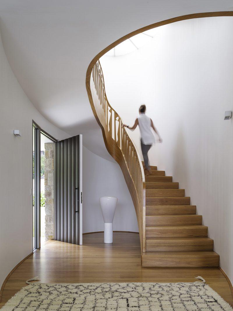 Spiral timber stair timber cut-out balustrade