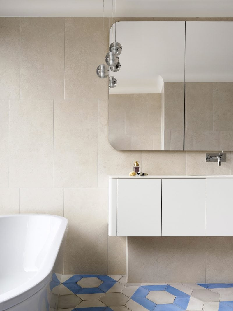 Freestanding bath geometric tiled bathroom floor
