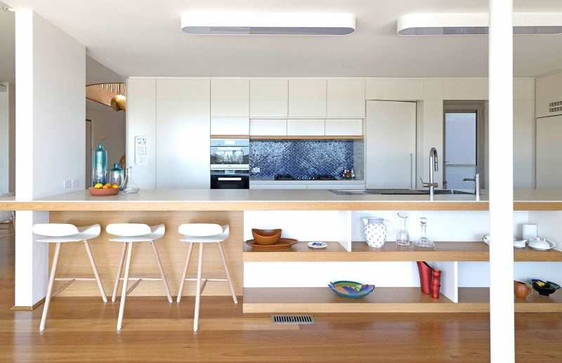 Clean White Kitchen, Timber Island Bench