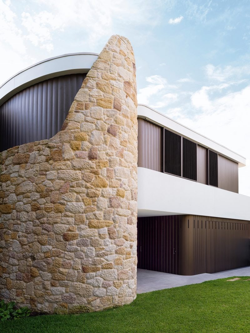 Curved sandstone wall external adjustable louvers