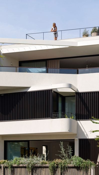Curved terrace balconies external adjustable louvers